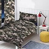 Einzelbett-Bettwäsche-Set, grauer Camouflage.