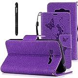 Slynmax Coque Samsung Galaxy Grand Plus/J2 Wallet,PU Cuir Papillons Fleurs Peint Case Flip Coque de Fermeture Cartes Slots de Coquille Stand pour Galaxy Grand Plus/J2 Prime-Violet