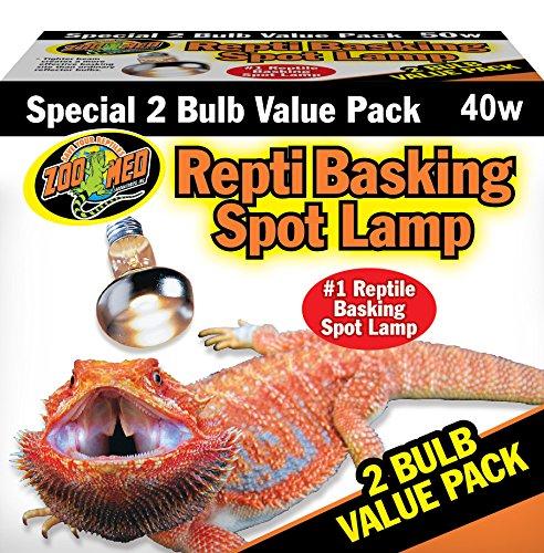 Zoo Med SL2-40e Repti Basking Spot Strahler für Wärme und Licht im Terrarium, Doppelpack 2 x 40 W