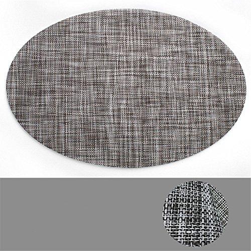 CAMAL Platzsets, Simplicity Oval Vinyl Weaving Mats Rutschfeste Wärmedämmung Tisch Matte, 45cm x 30cm, Fünf Farbe erhältlich Set of 6 Grau (Tisch Matten Set 6)