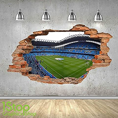 MANCHESTER CITY STADIUM WALL STICKER 3D LOOK - BOYS KIDS FOOTBALL BEDROOM Z497 Size: Large