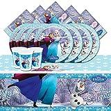 Kit Per Festa Compleanno Disney Frozen Pattinaggio Sul Ghiaccio Per 8 persone (8 Piatti, 8 Bicchieri, 20 Tovaglioli, 1 tovaglia)