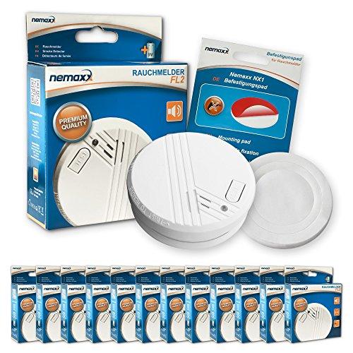 12x Nemaxx FL2 Rauchmelder - hochwertiger Rauchwarnmelder nach EN 14604 mit sensibler...
