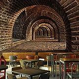 Fotomurales Custom 3D Mural Wallpaper Creativo Espacio Ampliado Ladrillo Pared de Túnel Bar Restaurante Personalidad Pintura de Pared Tela Seda Wallpaper 200x140cm