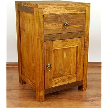WOHNLING Nachttisch Massivholz Akazie Design Nachtkommode