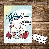 A6 Weihnachtskarte Einhorn mit Bommelmütze Postkarte Print & Spruch Frohe Weihnachten pk136 ilka parey wandtattoo-welt®