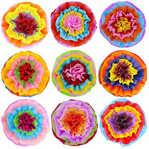 a Papierblumen Pompons Blumen Seidenpapier Pom Pom Poms 39,1 cm breit für mexikanische Regenbogen-Party Fiesta Cinco De Mayo Party ()