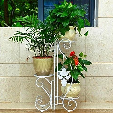 Continental in ferro battuto rack fiore piano balcone Pot rack rimovibile stanza vivente idee fiore (Stand Livello Ferro Battuto Impianti)