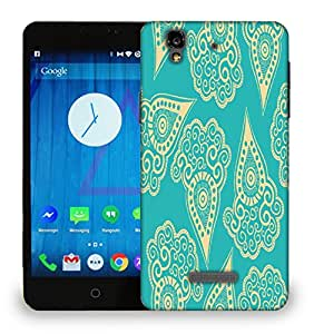 Snoogg Light Yellow Blue Pattern Printed Protective Phone Back Case Cover For Micromax Yu Yureka
