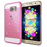 NALIA Handyhülle kompatibel mit Samsung Galaxy S7 Edge, Glitzer Slim Hard-Case Hülle Back-Cover Schutzhülle, Handy-Tasche Schale im Glitter Design, Dünnes Bling Strass Etui Smart-Phone Skin - Pink