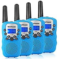 WisHouse Kids Walkie Talkies, PMR446MHz Easy to Use Walky Talky Boys Girls Gifts Torch 3KM Long range to play Family Friends Field Survival Camping Biking Hiking.(T388 Blue, 4pcs)