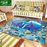 GRENSS chinesischen Palast das Wohnzimmer Teppich cartoon Couchtisch Sofa im Wohnzimmer Küche Schlafzimmer mit Etagenbetten und Floating in das Fenster und, 140 * 200 cm, Wild Dolphin.