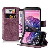 Cadorabo Coque pour LG Nexus 5, Rouge Mat Design Retro Housse de Protection Portefeuille Etui Case Cover pour LG Nexus 5 - Stand Horizontal et Fente pour Carte Poche Folio