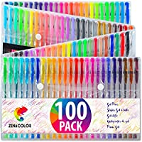 Zenacolor 100 Gel Pens with Case - Extra Large Set - 100 Unique Colors (No Duplicates) - With Superior Quality Easy Flowing Ink - Great for Adult Coloring Books