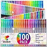 100 stylos gel Zenacolor avec étui - Boîte de Gel Pens extra large – 100 stylos bille avec gel de couleur UNIQUES (aucune en double) – Avec une encre de qualité supérieure qui coule facilement - Parfaits pour les livres de coloriage pour adultes, l'art thérapie et plus encore