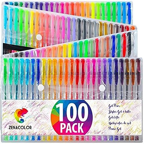 100 stylos gel Zenacolor avec étui - Boîte de Gel Pens extra large - 100 stylos bille avec gel de couleur UNIQUES (aucune en double) - Avec une encre de qualité supérieure qui coule facilement - Parfaits pour les livres de coloriage pour adultes, l'art thérapie et plus