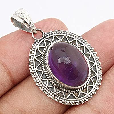 Natural Large Amethyst 925 Sterling Silver Pendant