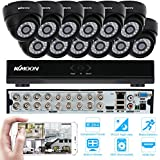 KKmoon 16 Channel CCTV Camera System Home Camera Security Surveillance Cameras CCTV Cable 16ch DVR with 12pcs Indoor CCTV Dome Cameras Support Motion