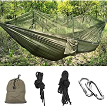 MMTX Camping Hamaca 2 Persona Durable Compacto Colgante de Tela de Nylon Paracaídas para Dormir Acampar