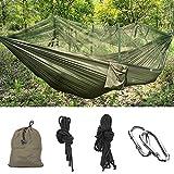 MMTX Camping Hamac 2 Personne Durable Compact Suspendus Parachute Nylon Tissu Camping Couchage (vert foncé)