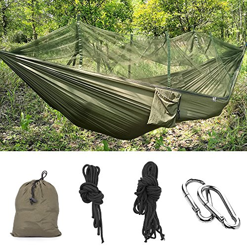 MMTX Camping Hammock with Mosquito Net Lightweight 2 Person Jungle Parachute Nylon Outdoor Travel Mosquito Sleeping Hammock Hanging Bed for Camping, Hiking, Backpacking, Travel, Emergency Survival.
