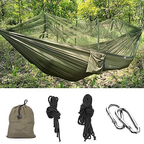 MMTX Camping Hamaca 2 Persona Durable Compacto Colgante de Tela de Nylon Paracaídas para Dormir Acampar Al Aire Libre Jardín Playa de Viaje Backpacking Senderismo (Azul) (Verde Oscuro)