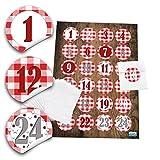 24 weiße Papiertüten für Weihnachtsgeschenke (7,5 x 10,2 cm) und 24 runde Aufkleber, Sticker 4 cm rot weiß karierte Zahlen 1 bis 24 für tolle Adventskalender zum selber basteln; 1a Qualität!