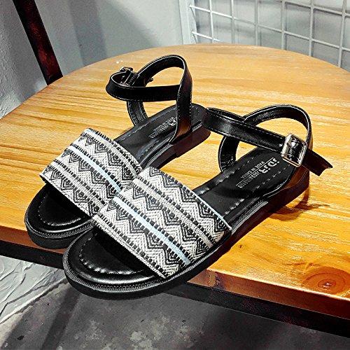RUGAI-UE Studenti donne semplice piatto sandali scarpe antiscivolo per scarpe Black