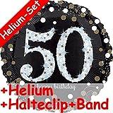 Carpeta Folienballon * Zahl 50 Happy Birthday + Helium FÜLLUNG + Halte Clip + Band * Zum 50. Geburtstag // Folien Ballon Party Helium Deko Ballongas Motto 50 fünfzig Jahre Glückwunsch