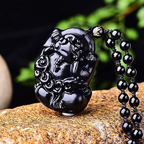 YZWD Collar De Obsidiana Amuleto Piedra Natural Protección Curación Colgante De Obsidiana Natural para Crear Hombres Y Mujeres De Negocios Malvados