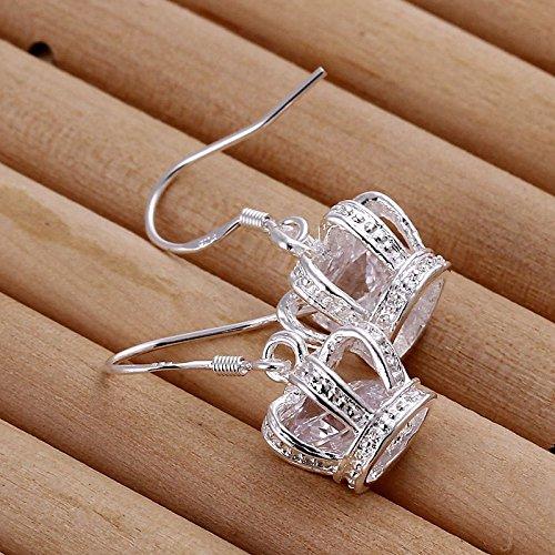 Plateado Corona Caída De Los Pendientes Del Gancho Cuelga 2.7 x 1.2 cm Diamante De Imitación Princesa Tiara Rey