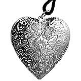 Oidea Damen Halskette mit Anhänger, Leder Kette Halsband mit Lieben Herz Blumen Muster Fotorahmen Legierung Anhänger, Silber Braun