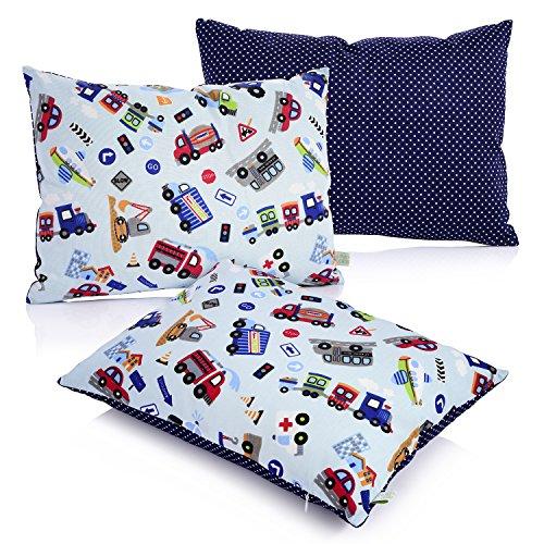 La Petite Unique | 35 x 25 cm oreiller pour enfants | décoration adaptée aux enfants | 100% non-toxique | oreiller lavable et certifié Ökotex pour bébés | Voiture