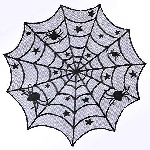 XONOR 2 Stück Halloween Schwarze Spitze Tischdecke - Runde Gruselige Spinnennetz Tischdecke Party Dekoration (101cm x - Runde Halloween-tischdecke
