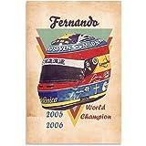 MTPF Póster para casco F1 Fernando Alonso Pintura decorativa lienzo para pared de sala de estar, dormitorio, 30 x 45 cm