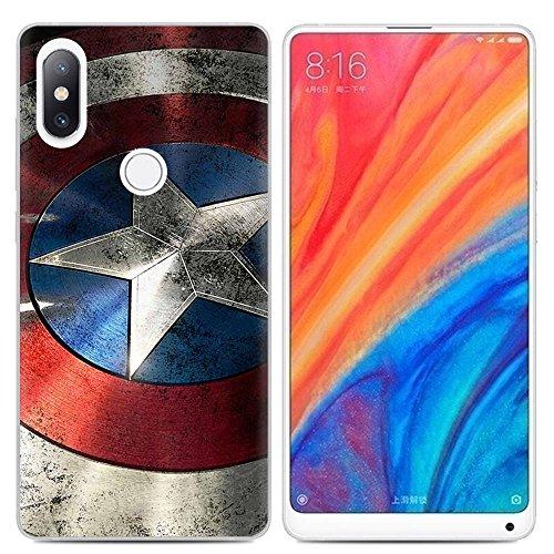 Aksuo Funda For Xiaomi Mi Mix 2S , TPU Anti-Rasguño Anti-Golpes Cover Protectora Transparente Claro TPU Caso Bumper Slim Silicona Case - Capitán America