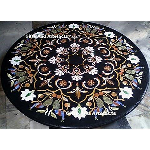 152,4x 152,4cm Nero Semi Preziosa Pietra inserto da pranzo Tavolino Divano Tavolo Home Office Decor marmo tavolo