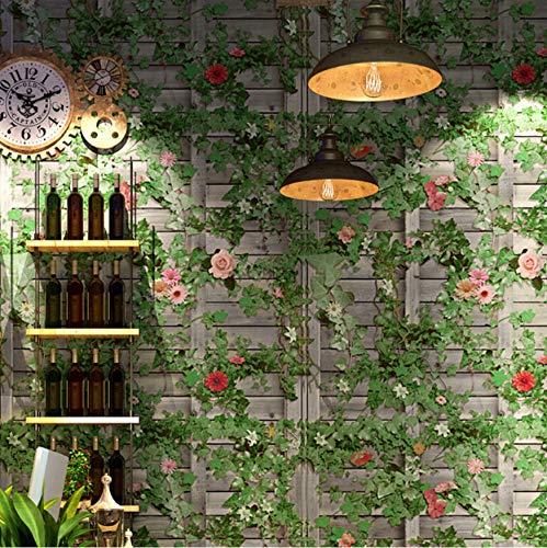 Svsnm Vintage Green Boston Ivy Grey Brick Wall Papers Home Decor PVC 3 D Tapete Für Restaurant Wandbild 0,53X10 Mt Ivy Vintage Tapete