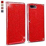 Coque iPhone 8 Plus/iPhone 7 Plus,OKZone Luxe Bling en Cuir PU Premium Housse à Rabat Portefeuille Coque [Protection Complète] Étui de Protection Clapet pour Apple iPhone 8 Plus/iPhone 7 Plus (Rouge)