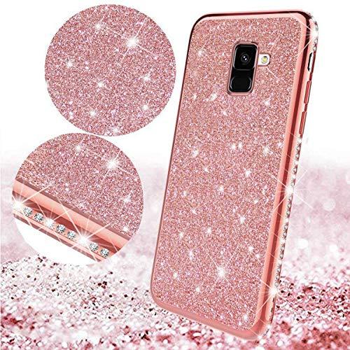 Uposao Kompatibel mit Samsung Galaxy A8 Plus 2018 Handyhülle Glänzend Glitzer Kristall Strass Diamant Handytasche Überzug Silikon Schutzhülle Tasche Durchsichtige Hülle Backcover Case,Rose Gold