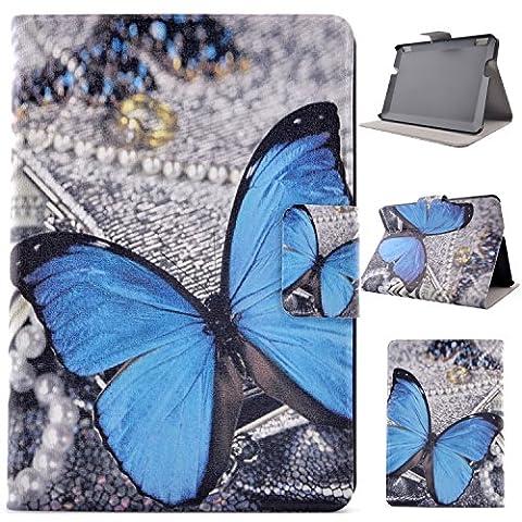 Für Kindle Fire HDX7(2013)Hülle,Asnlove PU Ledertasche Schutzhülle+Hart Hülle für Kindle Fire HDX7(7 Zoll) Blau Schmetterling Hülle Flip Tasche Schutz Etui Standfunktion Tablet