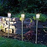 Multistore 2002 3 Stück Bambusfackel 77cm mit LED Farbwechsel & Duftkerze im Glas Zitrone, Partybeleuchtung