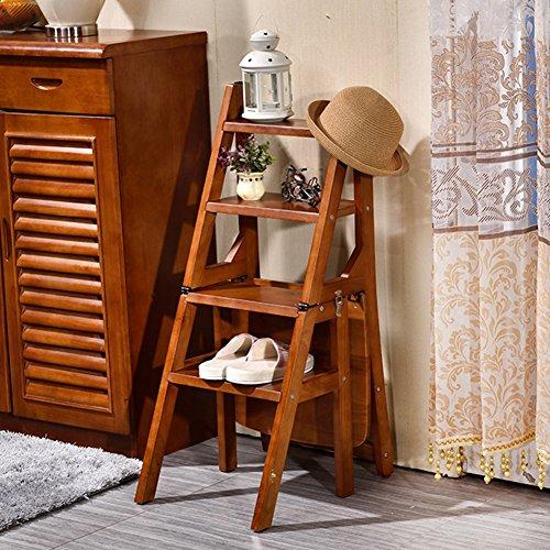 LIXIONG Chaise Pliante échelle Multifonction Ascend Quatre étapes Tabouret Bois Plein Plein, 90cm de Haut, Couleur Noyer tabourets de bibliothèque
