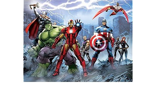 Avengers Super Hero Heroes Wall Art Wall Mural Self Adhesive Vinyl Wallpaper V1*