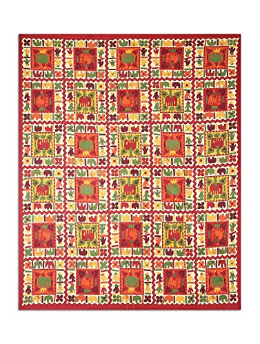 UniqChoice Rajasthani Traditional Print 120 TC 100% Cotton Double Bedsheet with 2 Pillow Cover,Red(UCEBD56)