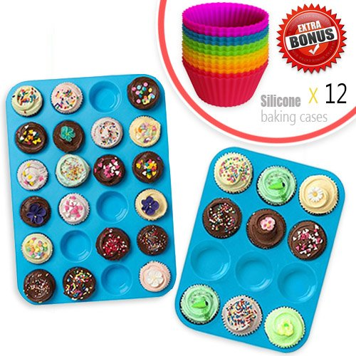 Silikon Muffin Pan Cupcake Backform Set (12 & 24 Mini Cup Größen), antihaftbeschichtet, BPA-frei, Spülmaschinenfest Bakeware Tin/Backform mit Gratis Silikon Backförmchen Silikon Cupcake Pan
