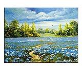 TTKX@@ Moderne Blue Sky Blumen Naturansicht Landschaft Handgemachte Ölgemälde Große Wandkunst Leinwand Bilder Zimmer Wohnkultur, 60X80 cm