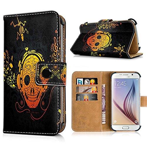 Apple iPhone 6s Handytasche mit Standfunktion, Magnetverschluss & Kreditkartenfächern. Schutzhülle Tasche Case Brieftasche Handyhülle / bunter Igel(334) oranges Hipster-Skelett