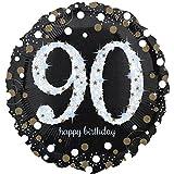paduTec Heliumballon Zahlenballon Ballon Folienballon - funkeln 90 Jahre Alter Jubiläum - Happy Birthday Geburtstag Deko - mit Helium gefüllt