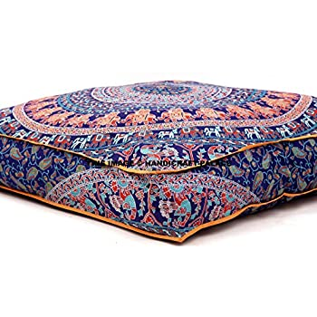 Indian mandala floor pillow square ottoman pouf daybed for Floor couch amazon